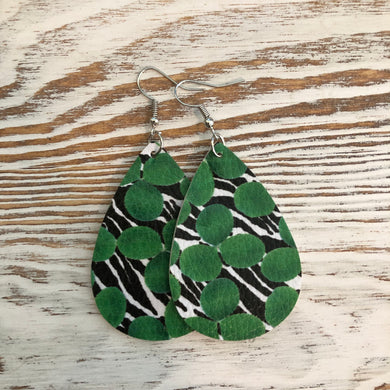 Green and Black St Patricks Day Faux Leather Earrings