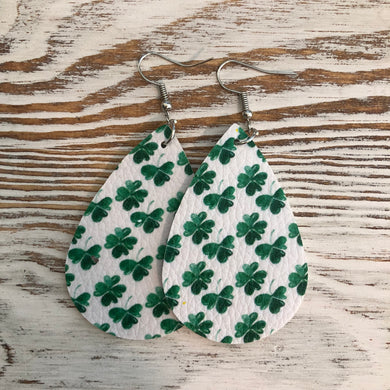 Mini Shamrock St Patricks Day Faux Leather Earrings