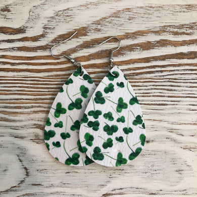 St Patricks Day Faux Leather Earrings