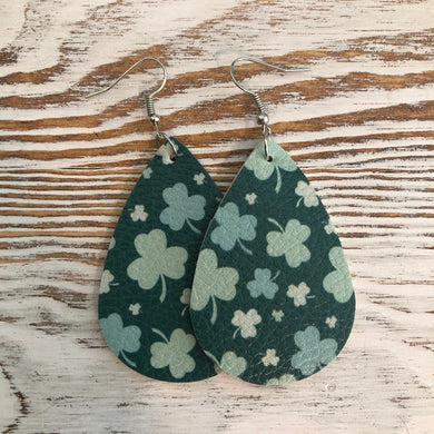 Many Shamrock St Patricks Day Faux Leather Earrings