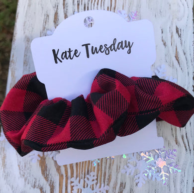 Red and Black Plaid Holiday Homemade Scrunchies