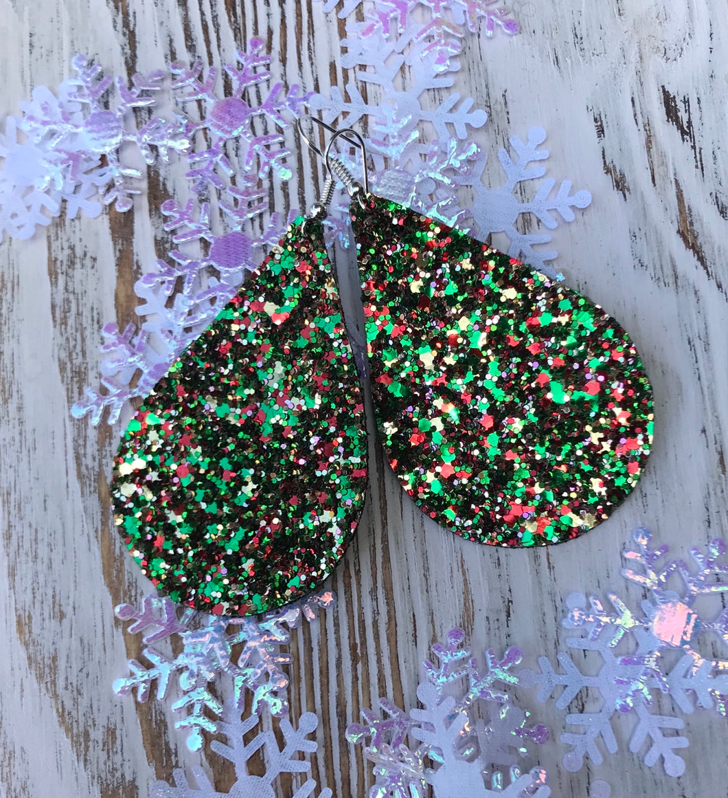 Holiday Glitter Leather Hang Earrings
