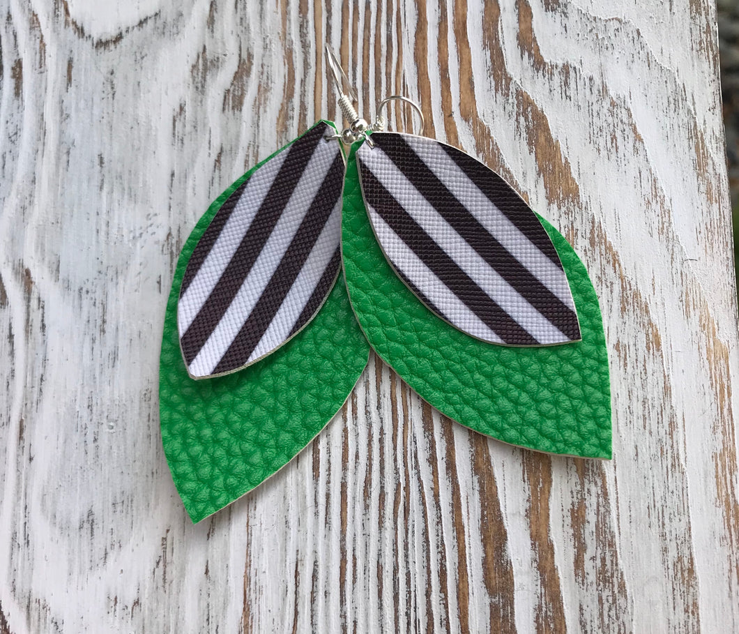 Holiday Black White + Green Stripe Leather Hang Earrings