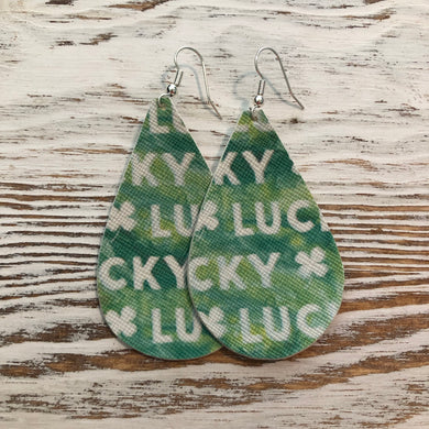 Lucky Green St Patricks Day Faux Leather Earrings