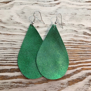 Green Shiny Glitter St Patricks Day Faux Leather Earrings