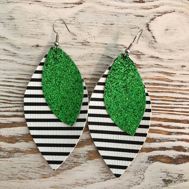 Green Glitter Stripe Black White St Patricks Day Faux Leather Earrings