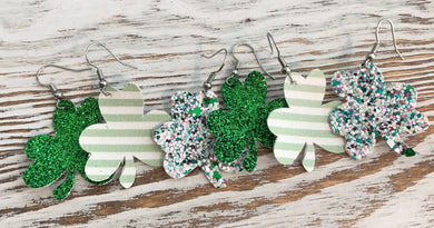 Glitter and Leather Shamrock Earrings