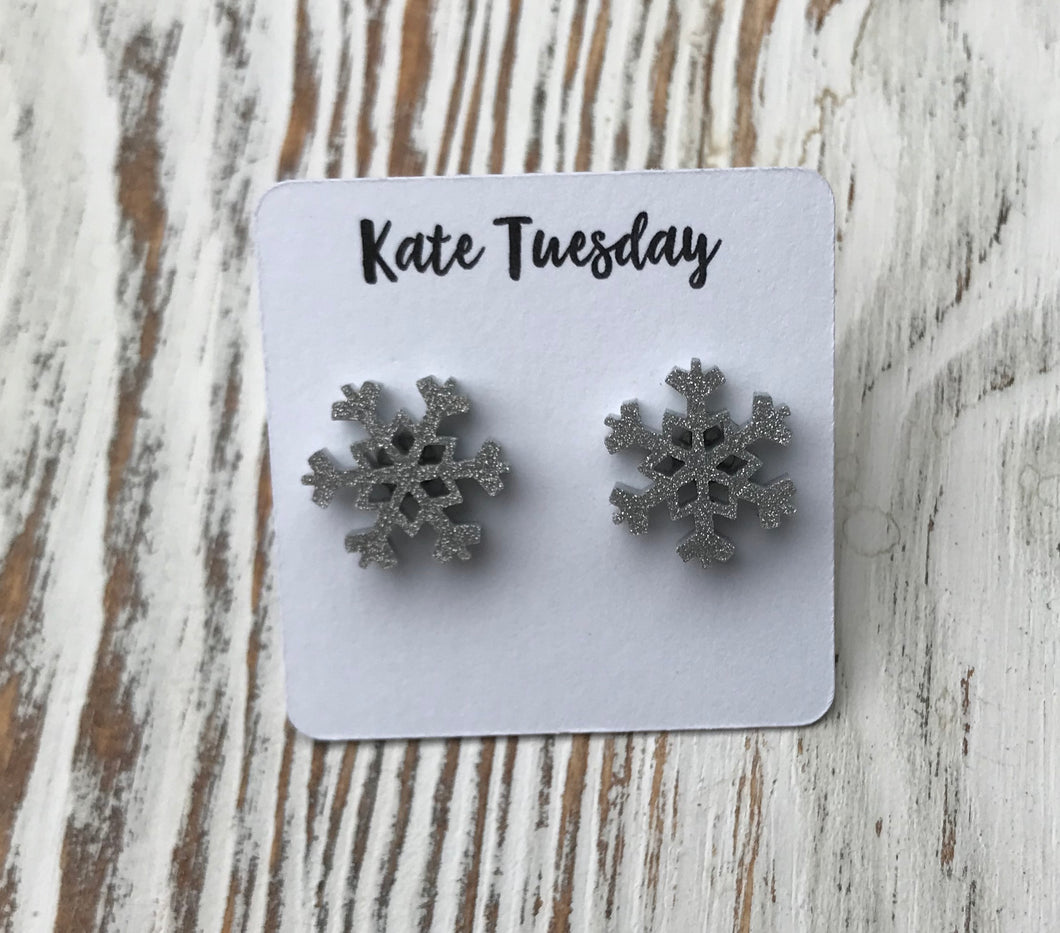 Silver Sparkly Snowflake Holiday Acrylic Stud Earrings