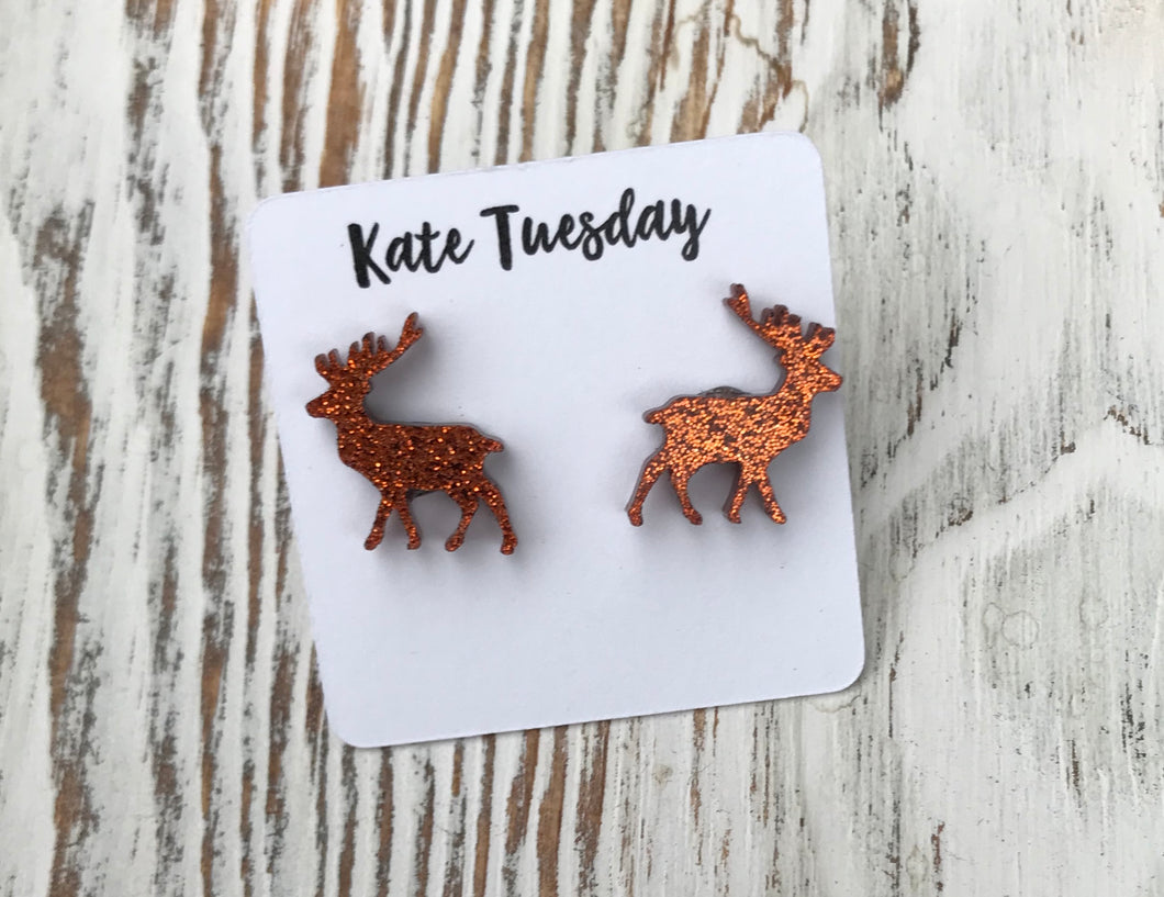 Copper Sparkly Reindeer Acrylic Holiday Stud Earrings
