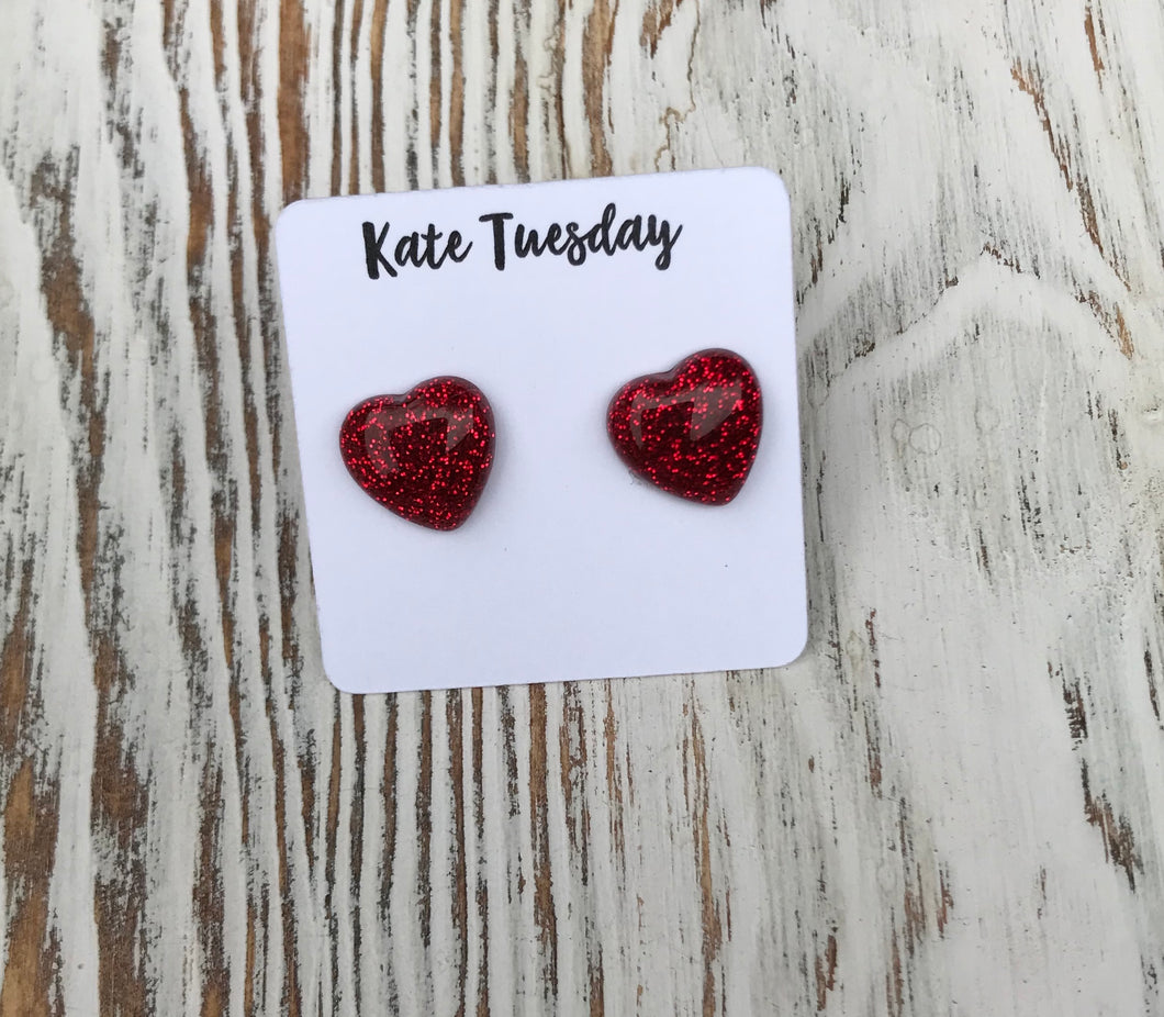 Red Sparkly Heart Druzy Stud Earrings