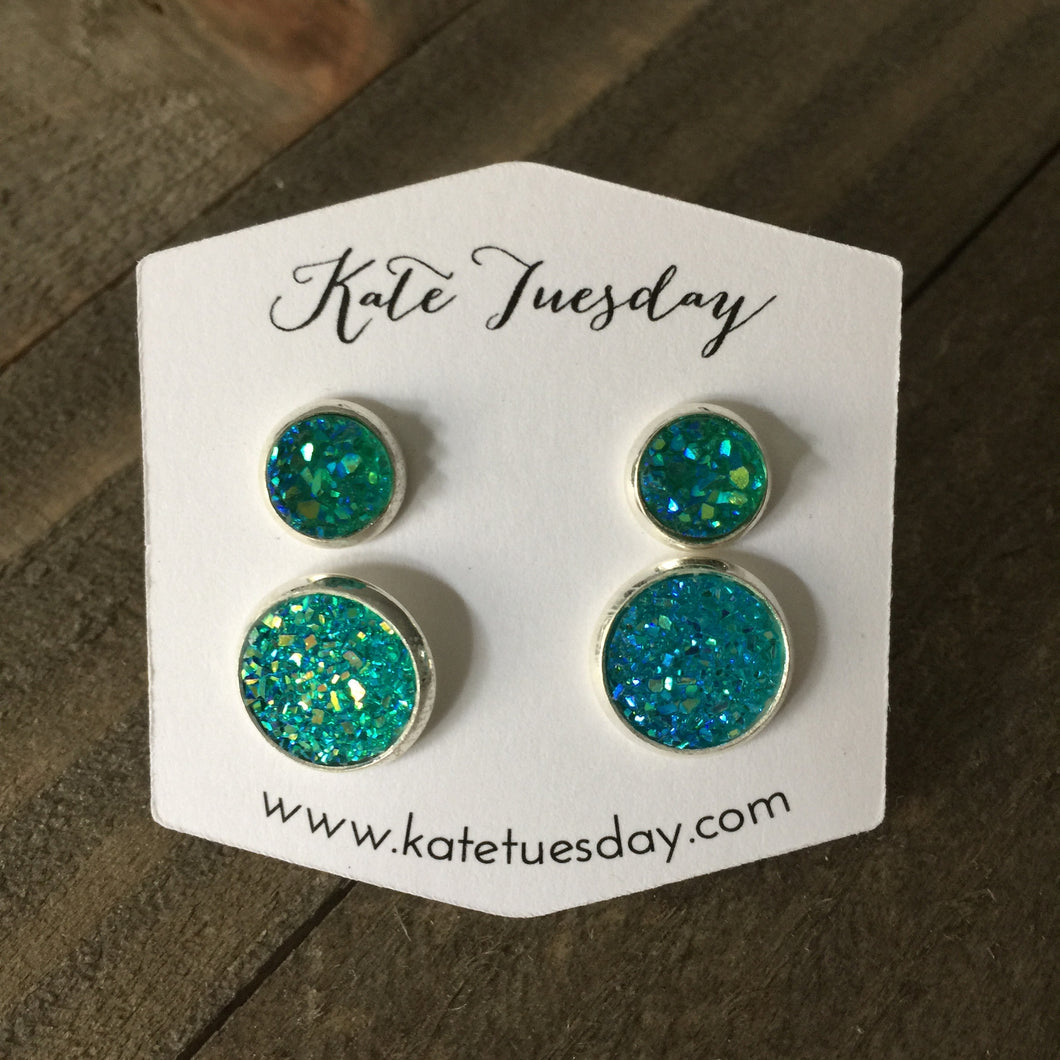 Turquoise Druzy Mommy + Me Earrings Set
