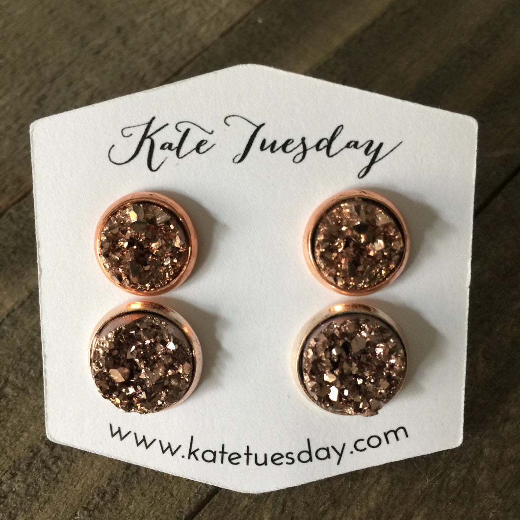 Rose Gold Druzy Mommy + Me Earrings Set