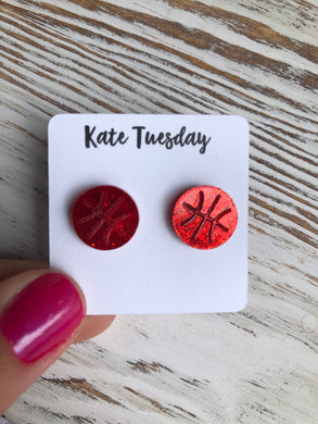 Red Basketball Sparkly Stud Acrylic Earrings