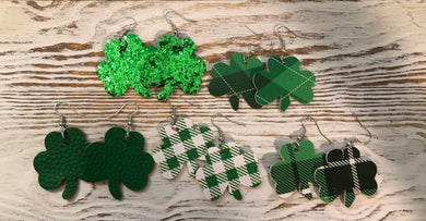 Shamrock Leather and Glitter Hang Earrings