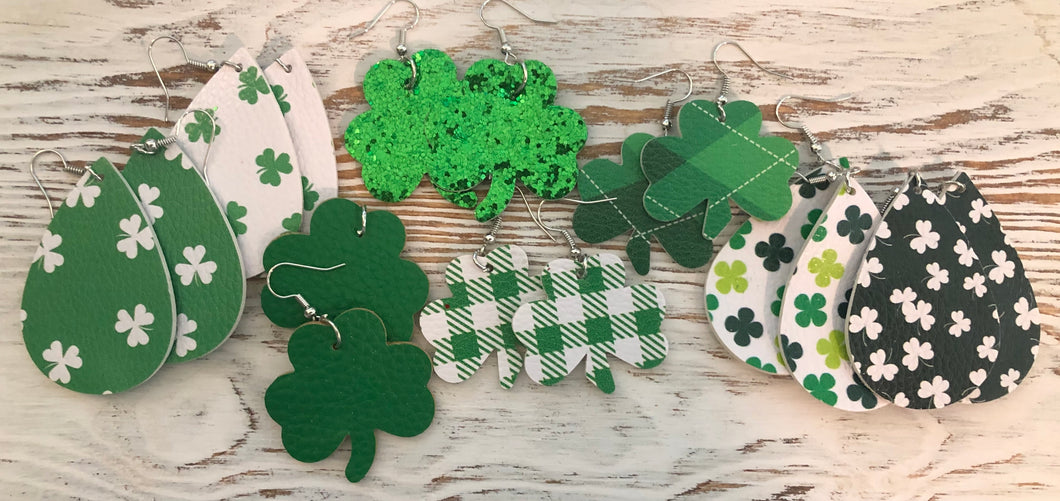 St Patricks Day Earring Leather Glitter Grab Bags