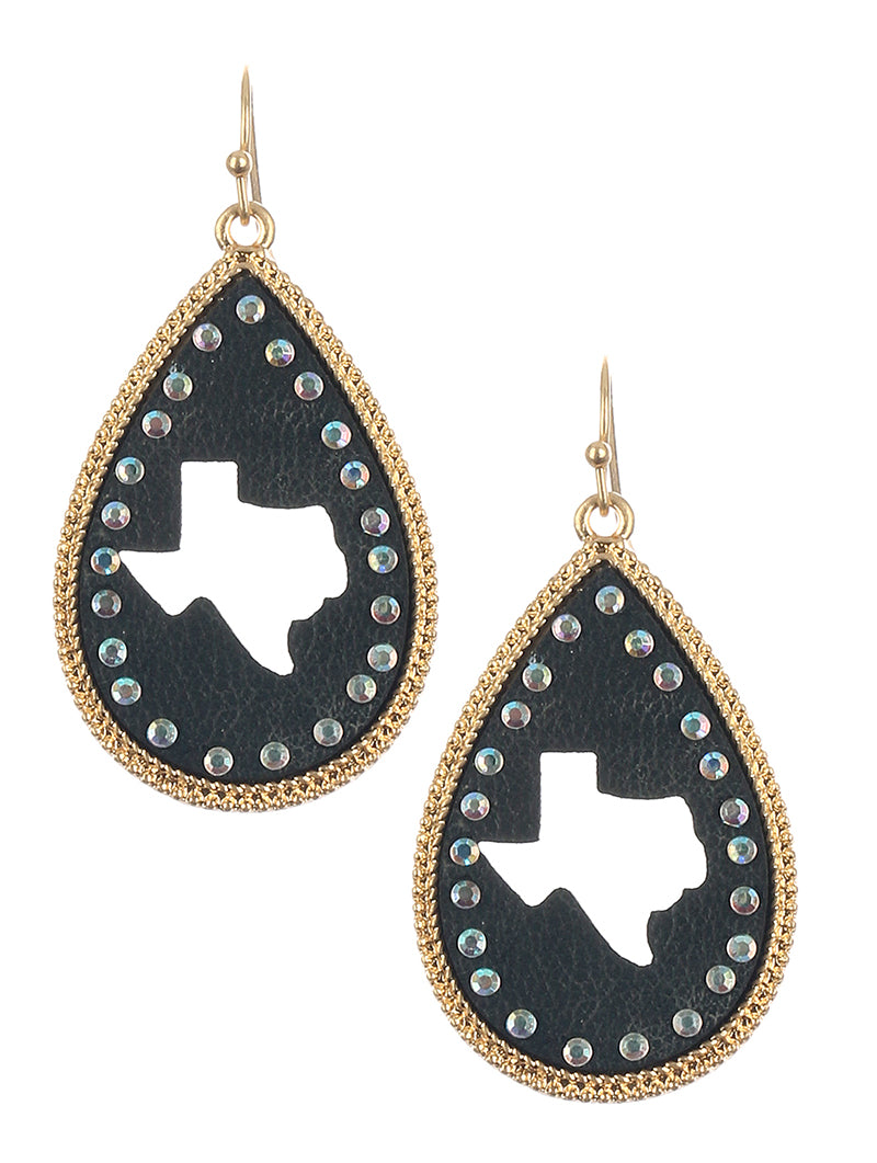 Texas Studded Leather Teardrop Earrings Black