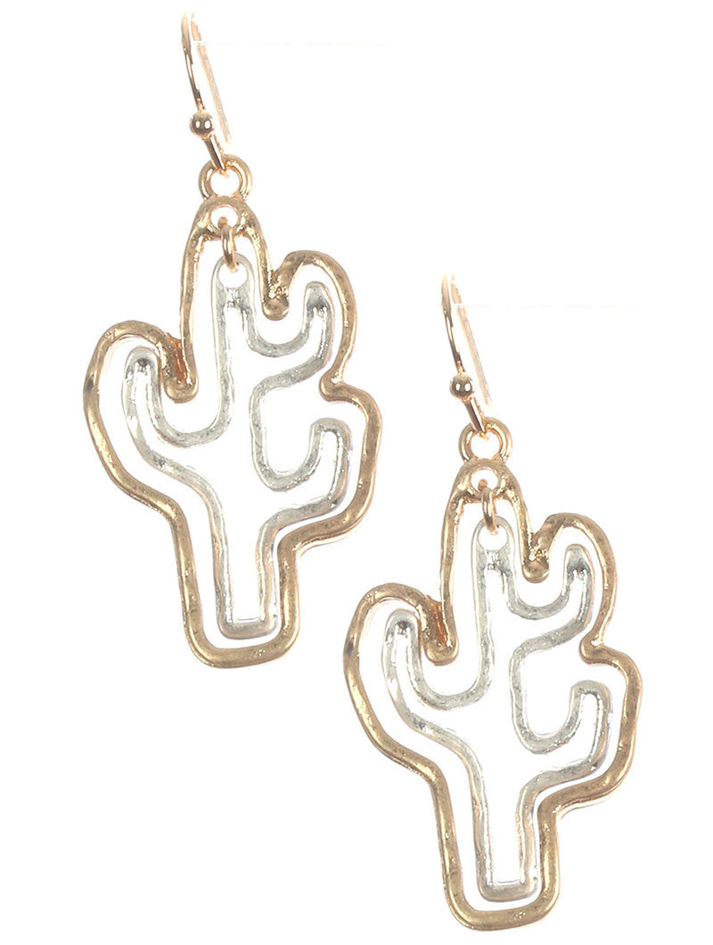 Silver Gold Outlined Cactus Hang Earrings