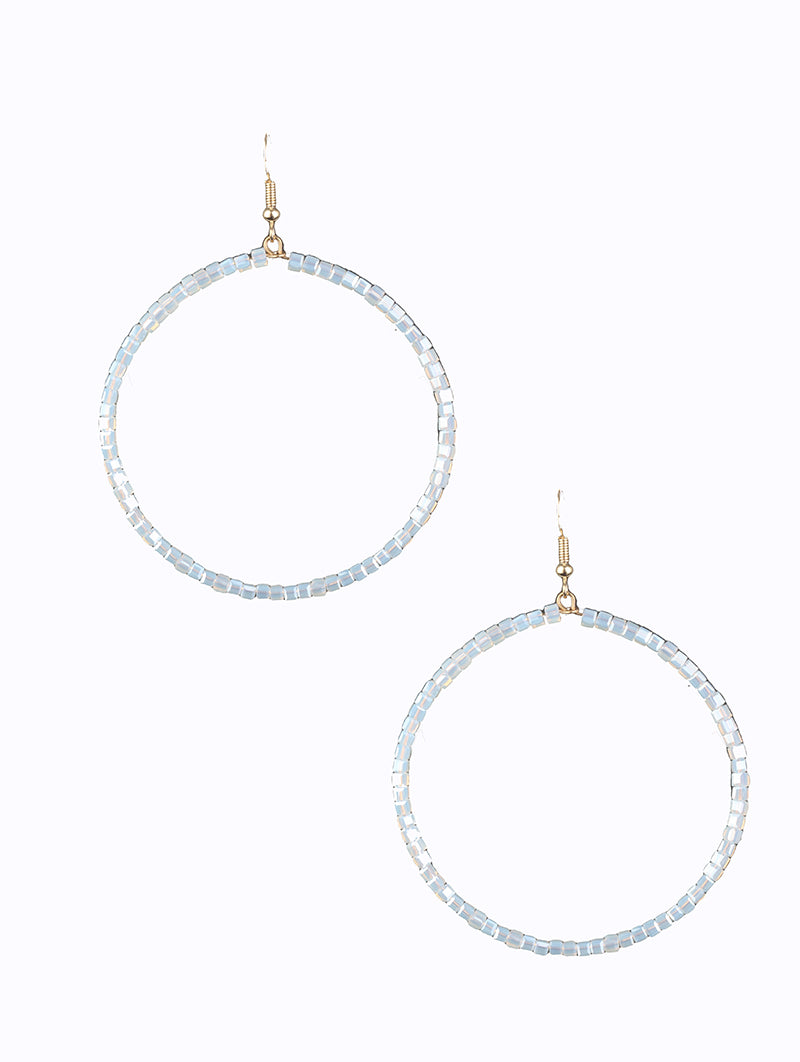 Summer Clear Glass Beaded Hoop Earrings