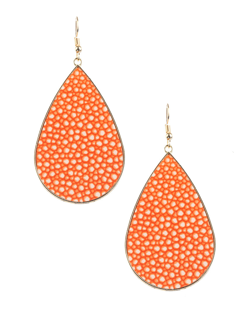 Neon Orange Summer Teardrop Earrings