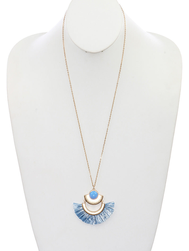 Blue Straw Metal Necklace