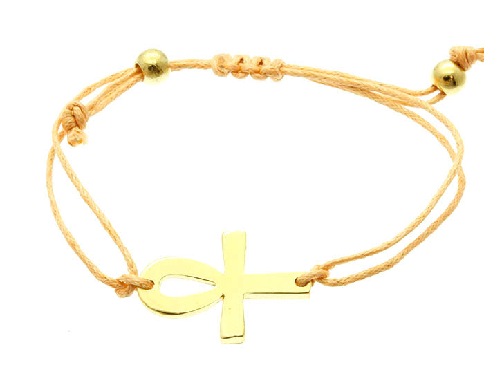 Peach Metal Cross Summer Gold Adjustable Bracelets