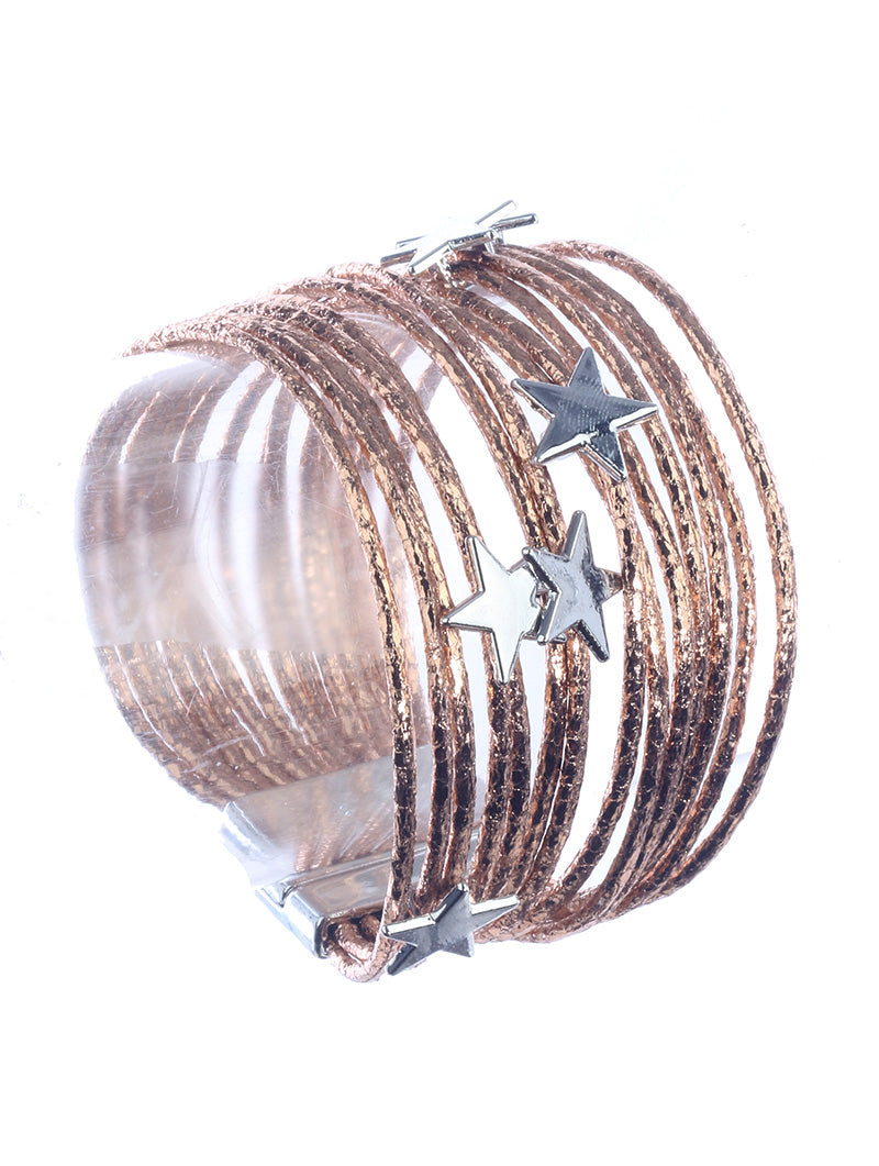 Rose Gold Leather Star Bracelet