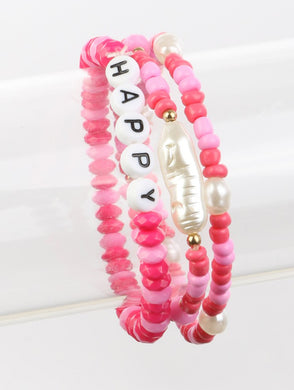 Pink and White Happy Summer Bracelet Set