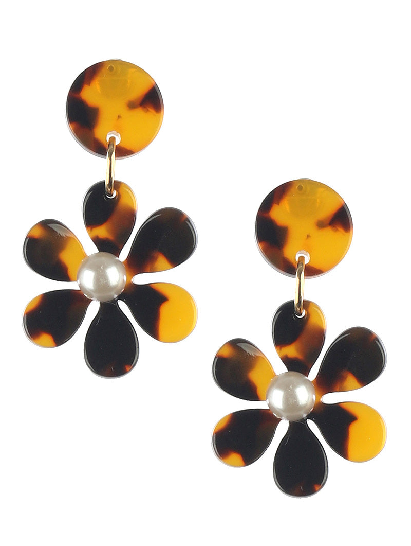 Cheetah Brown Flower Pearl Drop Earrings