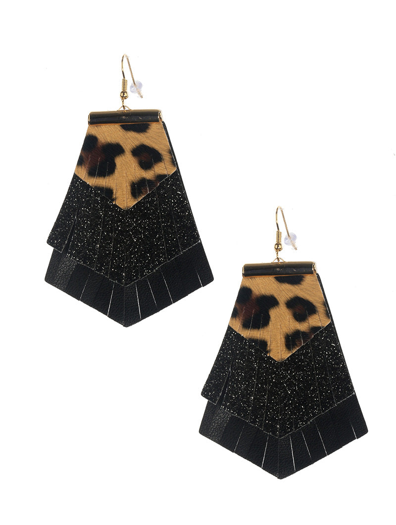 Three Layer Faux Leather Black Glitter Cheetah Earrings