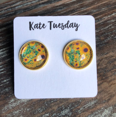 Sunflower 12mm Round Stud Earrings
