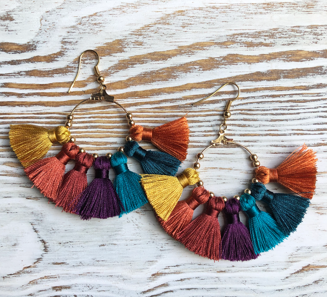Dark Multi Tassel Gold Hoop Earrings