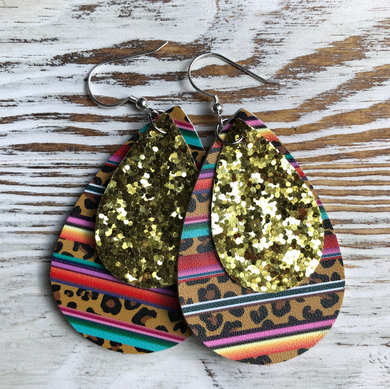 Cheetah Aztec 2 Layer Faux Leather Earrings