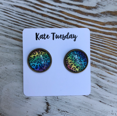 Rainbow Cheetah Stud 12mm Earrings