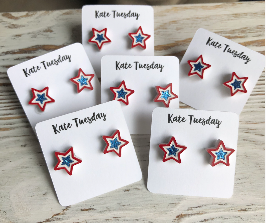 Patriotic Star Glitter Earrings