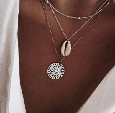 Three Layer Bohemian Boho Silver Shell Coin Necklace