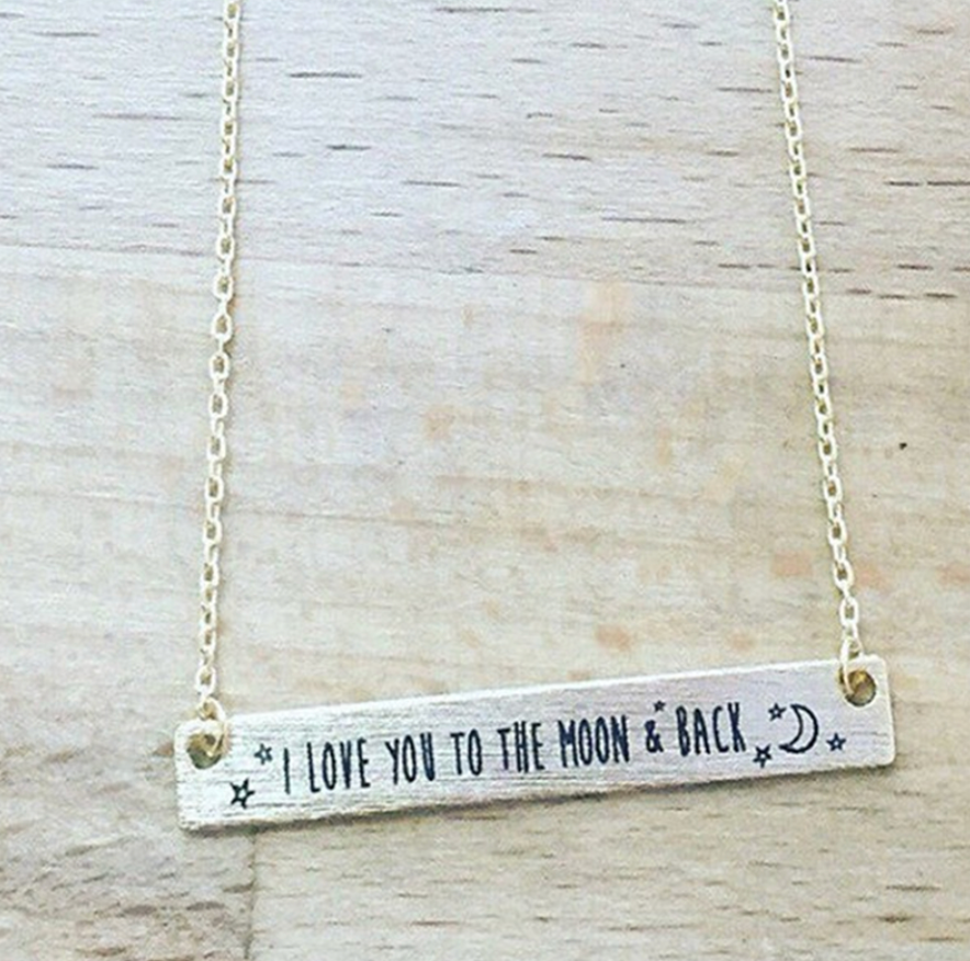 I Love You To The Moon and Back Necklace Silver and Gold