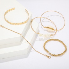 Gold Shell White Rock Fall Bracelet Set