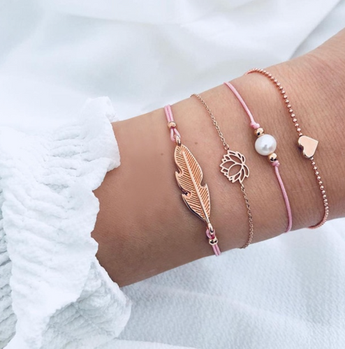 Pink Gold Feather Lotus Summer Bracelet Set