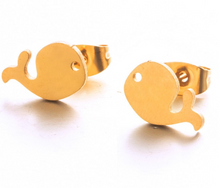 Whale Metal Stud Earrings Silver and Gold