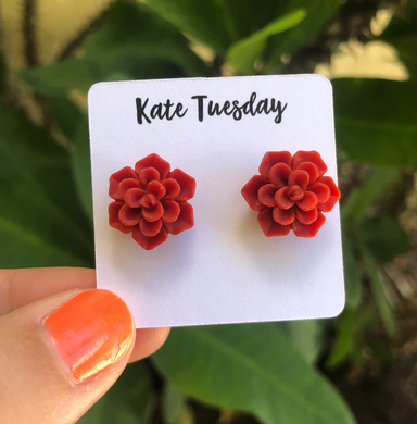 Succulent Flower Stud Earrings - Red