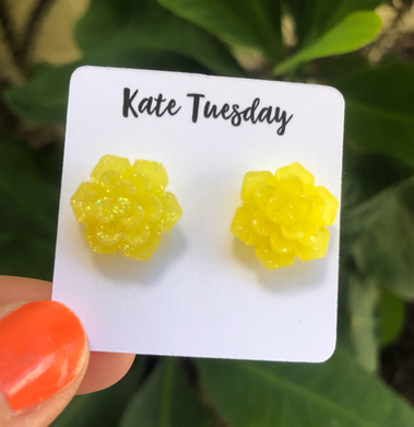 Succulent Flower Stud Earrings - Glittery Yellow