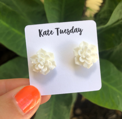 Succulent Flower Stud Earrings - White