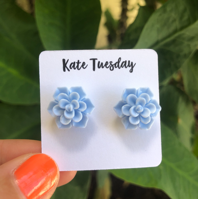Succulent Flower Stud Earrings - Baby Blue