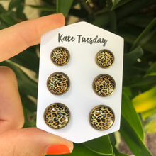Cheetah Leopard Triple Set of Earrings 3 Sizes