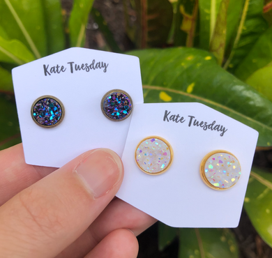 White 10mm Druzy and 8mm Multi Druzy Earrings