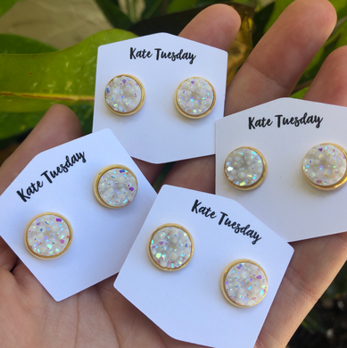 White 10mm Druzy Earrings