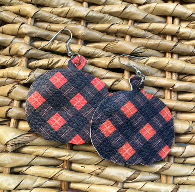Fall Pumpkin Tartan Plaid Double Sided Faux Leather Earrings