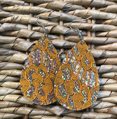 Orange Gold Fall Glitter Double Sided Earrings
