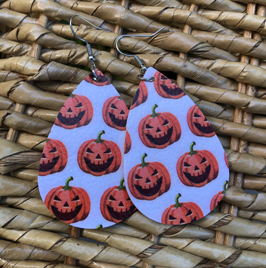 Pumpkin Double Sided Faux Leather Earrings