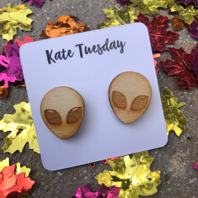 Alien Wood Engraved Halloween Earrings